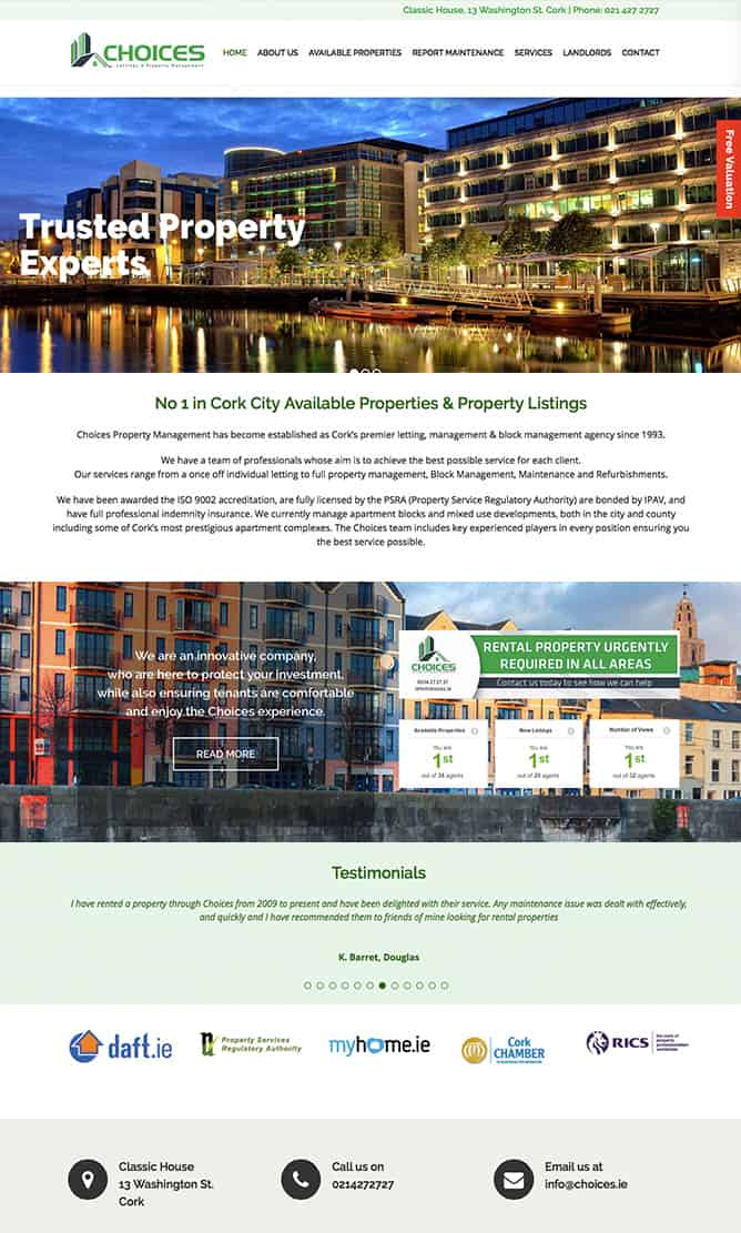 Choices Cork, Brochure Website, Services